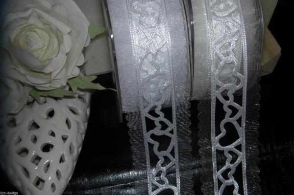 ... WEISS / CREME Wedding Hearts Schleifenband Hochzeit Kommunion Deko